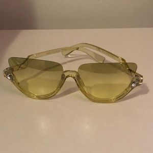 Yellow Tinted Rhinestone Accent Shades